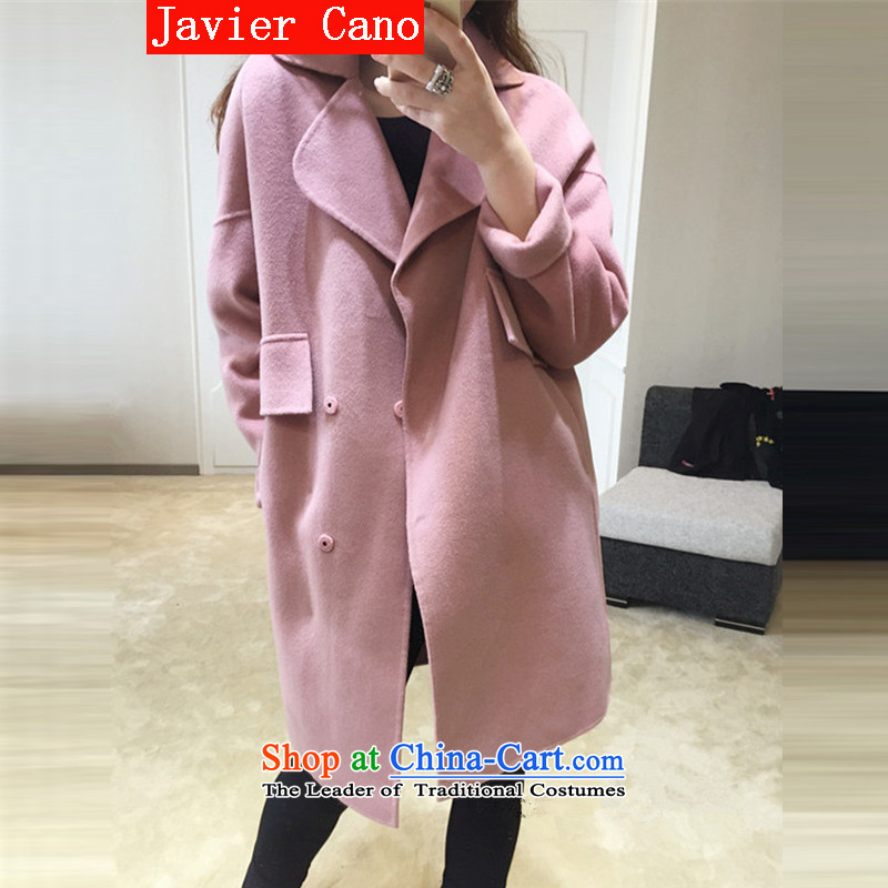 Javier cano2015 new autumn and winter Korean double-side in long wool a thick cocoon-Mao jacket coat girl and then pink燤