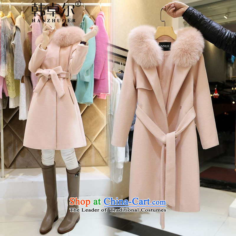Korea's 2015 winter new Korean fashion tether wool long Sau San jacket? Q430 pink S