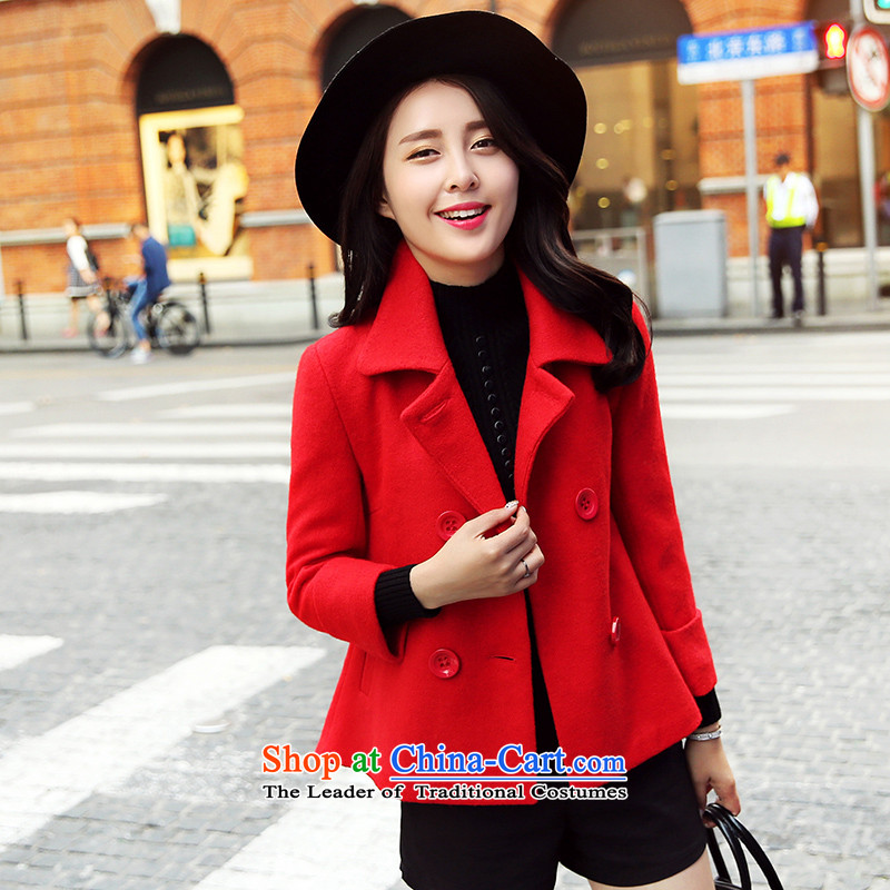 Park woke up to 2015 winter clothing new Korean straight hair? jacket stylish and simple winter coats female red S?