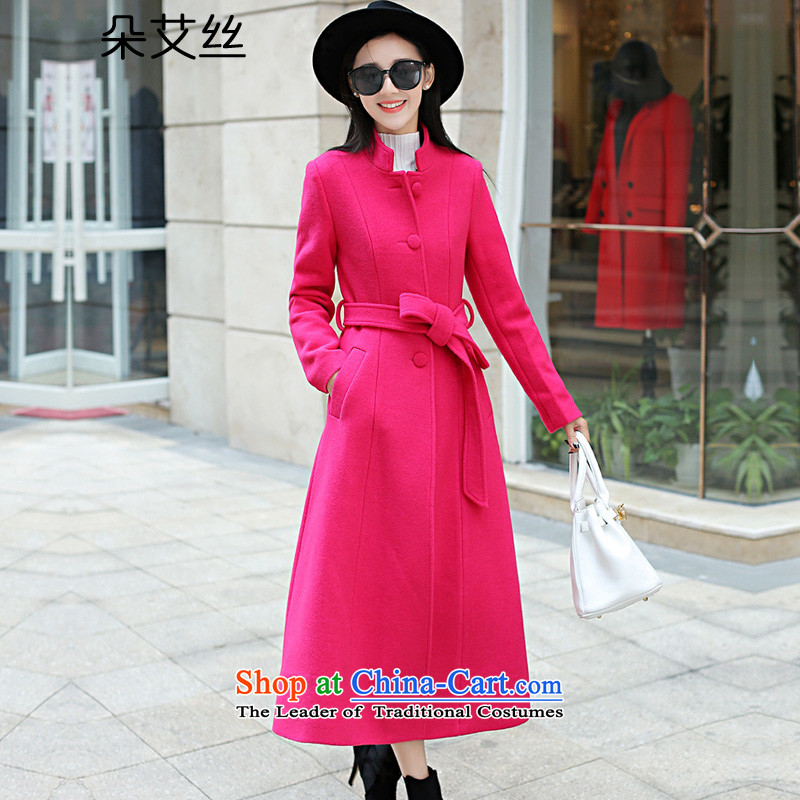 The Korean version of the population of a gross coats female long? 2015 winter clothing new extension of the knee jacket women's gross? ultra-long thick wool coat of red燣?