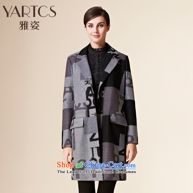Large Hazel 2015 autumn and winter new gross long coats that?_?   letter stamp then coat sub-jacket gray XL