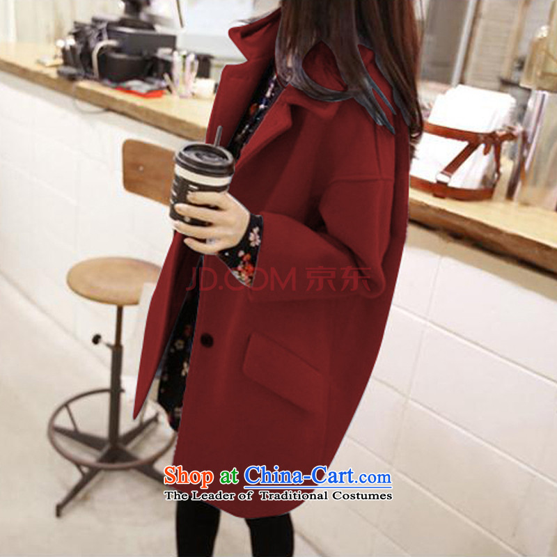 Sin has been gross? 2015 autumn and winter coats female new liberal larger jacket in Sau San long Korean gross? female shop long coats recommended wine red  L