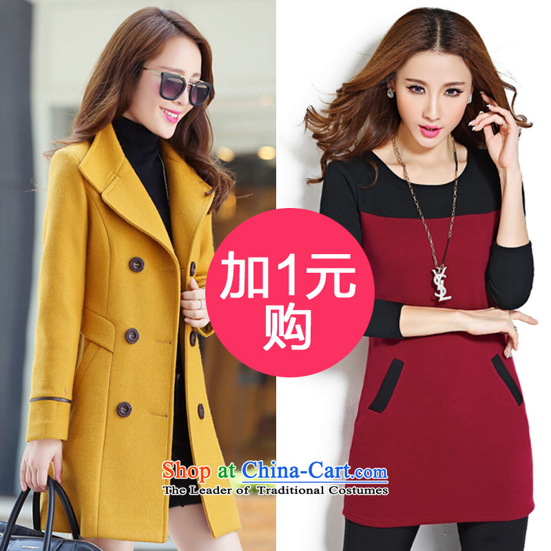 The holy day average 2015 Ying autumn and winter new larger gross? Long butted Sau San a wool coat TC615 yellow + red dress packageM