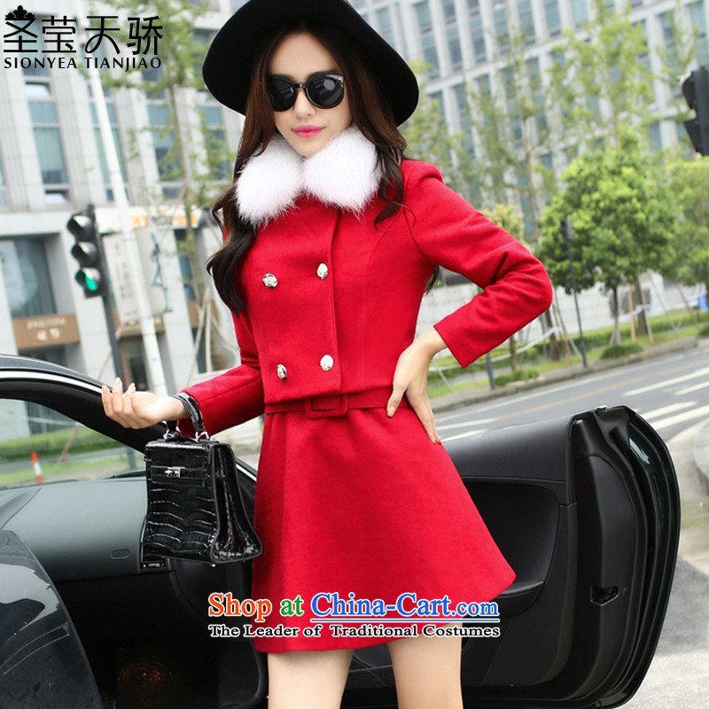 The holy day average 2015 Ying autumn and winter Korean small incense wind jacket short of gross? long-sleeved gross? dresses kit skirt SY590 RED燣