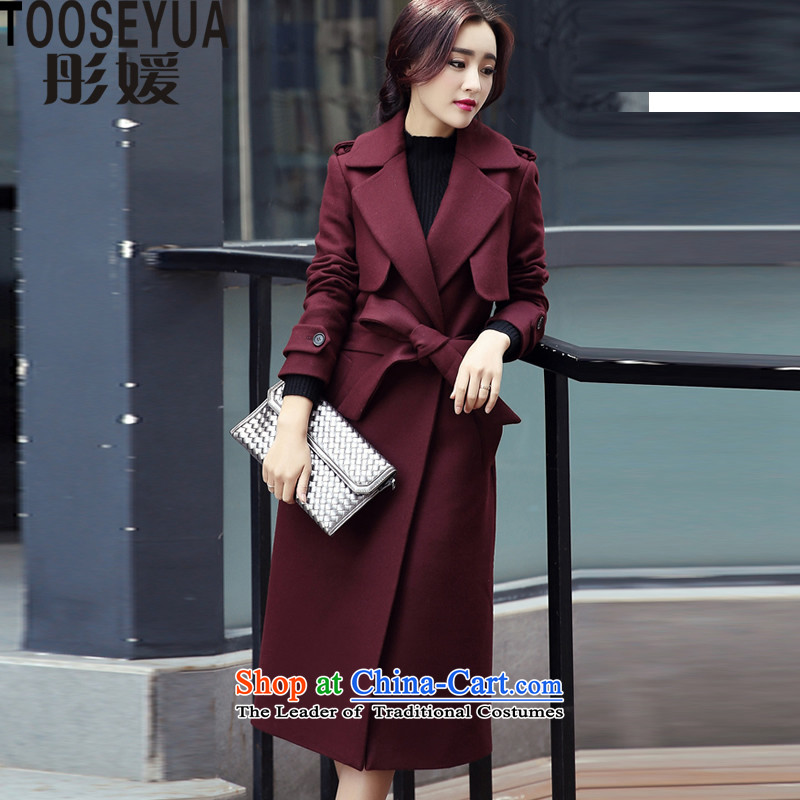 Tung Yuan燪iu load new 2015 Korean version of a wool coat cloak B310 coats of Sau San? deep red燣