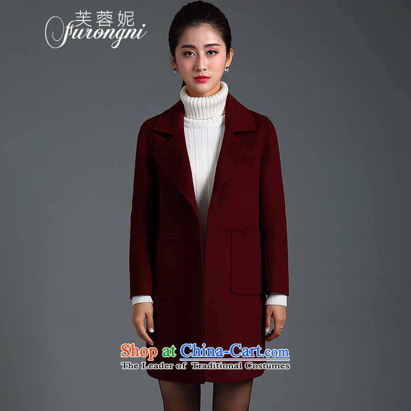 Hibiscus Connie gross? 2015 autumn and winter coats new larger female high-end 2-sided cashmere western coats, wool, Ms. long jacket燚0387?爓ine red燣