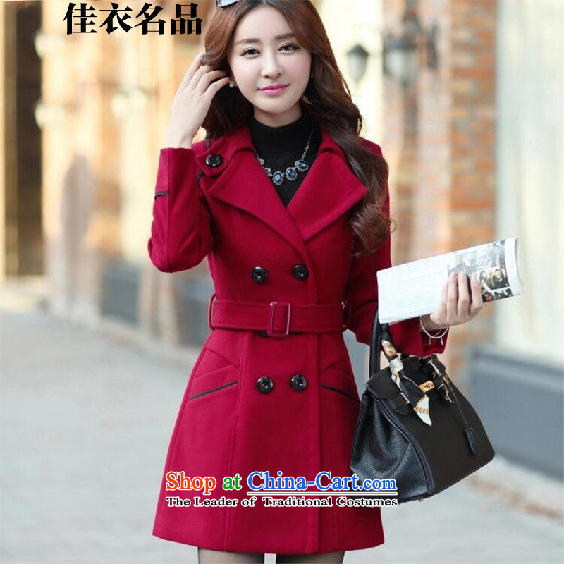 Better, Yi2015 autumn and winter new products for women new Korean version of Sau San? In gross jacket long a wool coat cashmereM8097wine redXL