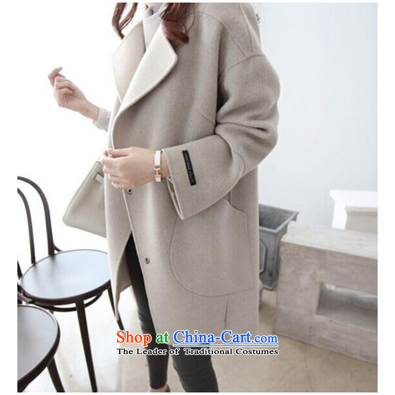The autumn and winter new Korean loose? butted long hair for women for winter-video thin wool cocoon? coats light blue燤