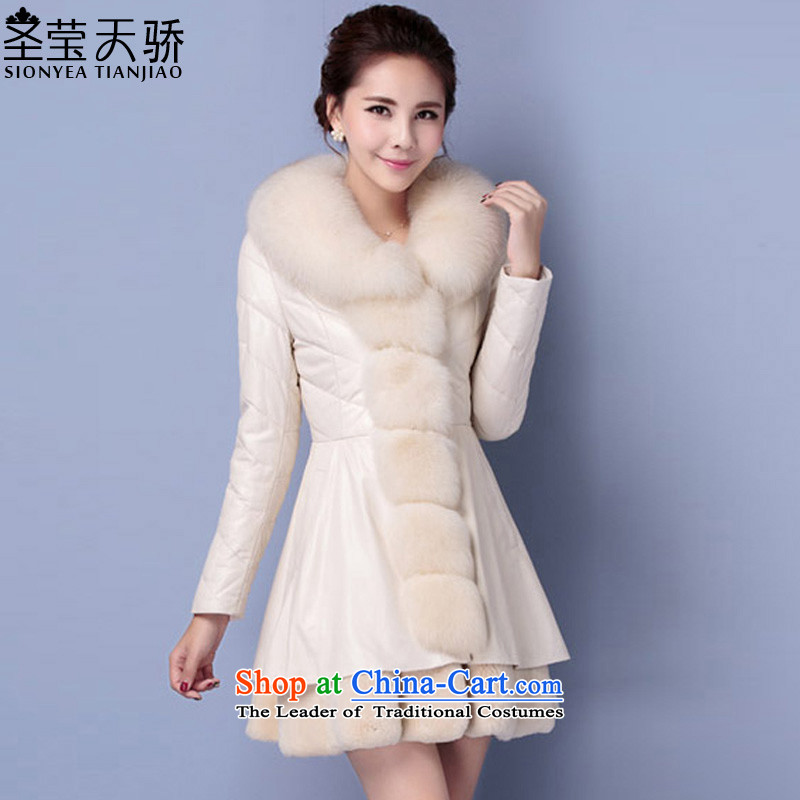 The holy day average 2015 Ying autumn and winter new nagymaros leather garments in the way long feather cotton coat jacket girl S704 m White聽L