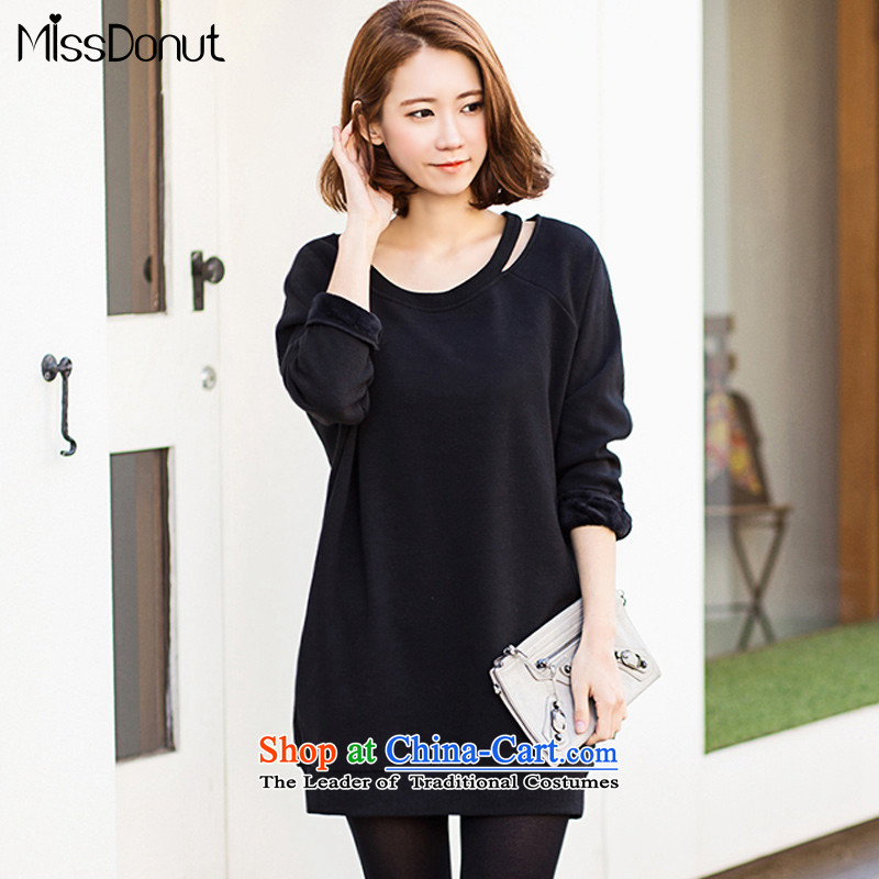 To increase the number missdonut female autumn and winter_ lint-free thick sweater in Korean long 200 catties thick sister mm large black clothes code 4XL recommendations 215-230 catty