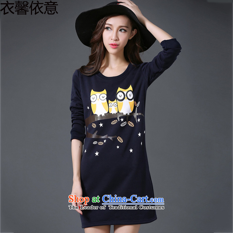 In accordance with the intention to include yi 2015 autumn and winter new plus lint-free large thick women wear long-sleeved dresses Y406XXXXL color picture