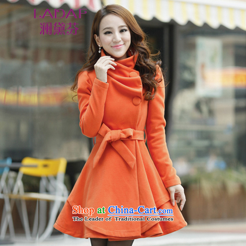 The World 2015 autumn and winter fun Doi new large graphics in thin long hair? jacket a wool coat women 3628 ORANGE?XXL