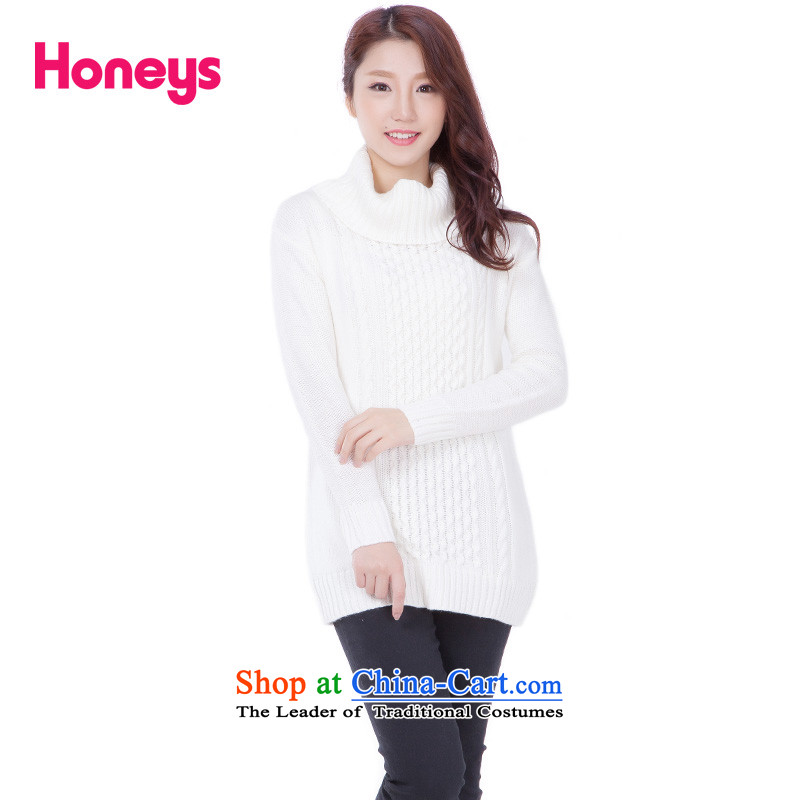 The new trendy honeys2015 winter pure color high-collar long sweater 605-31-9620 ivory 1 S