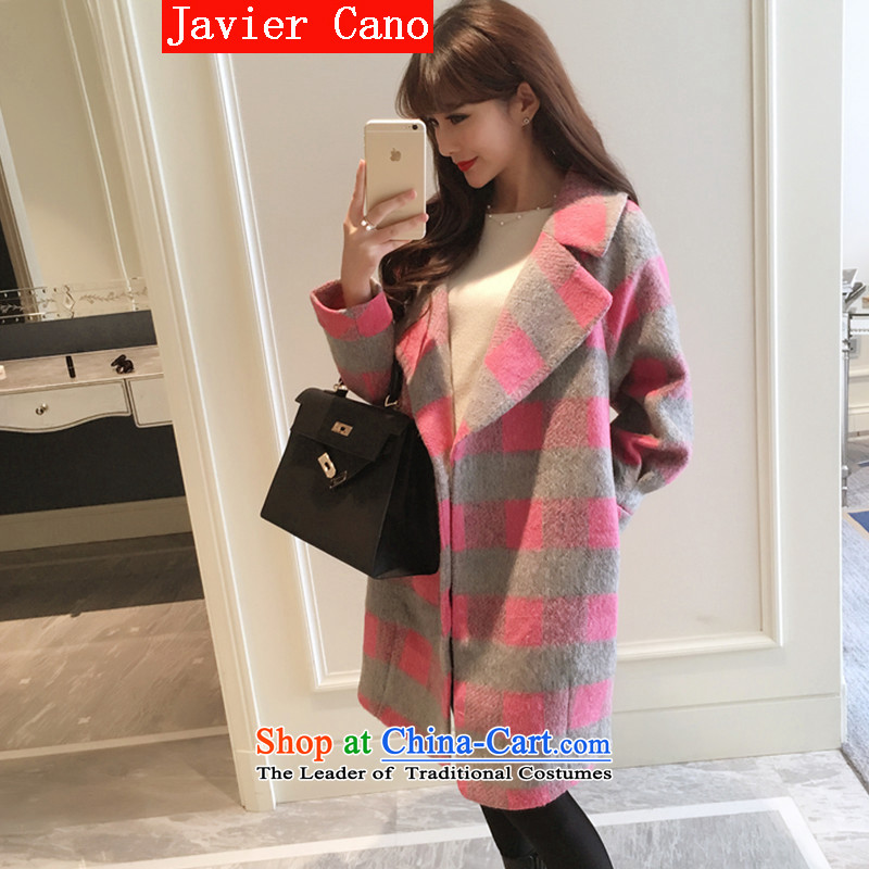 Javier cano2015 autumn and winter new Korean commuter compartment long wool coat cocoon-gross? the rotator cuff gross jacket color photo of women?M