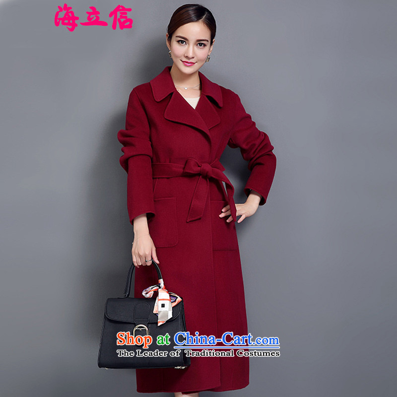 The Sea manual two-sided cashmere overcoat female quality 2015 winter clothing in new long wool? Korean wine red jacket coat Sau SanM