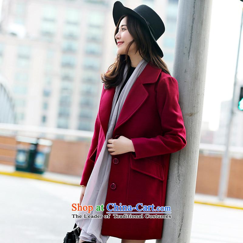 Park woke up to 2015 winter coats gross new products? Korean single row clip hair beauty? jacket wine red燬