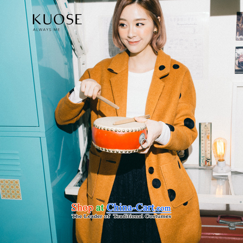 Wide Color Gamut 2015 autumn and winter new Korean female loose embroidery wave point video thin wild?? Jacket coat gross wave point brown?M