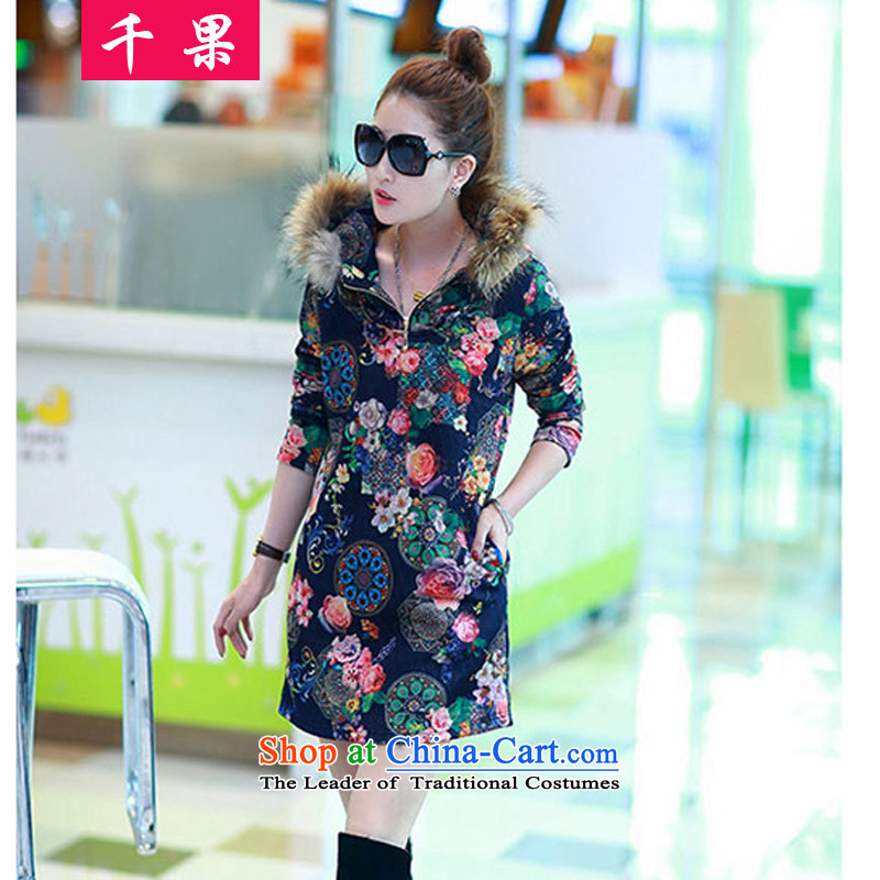 Thousands of fruit thick mm fall_winter collections to increase women's code. Long-plus-thick sweater stamp graphics thin 200 catties jacket thick coat 8823 Antique Flower sister blue?4XL