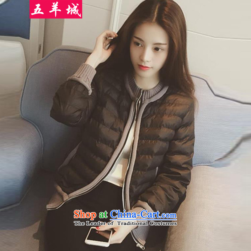 Five Rams City larger winter jackets 2015 new larger female thick sister leisure video thin cotton coat of large stylish short jacket 766 map color XL recommendations about 100-120