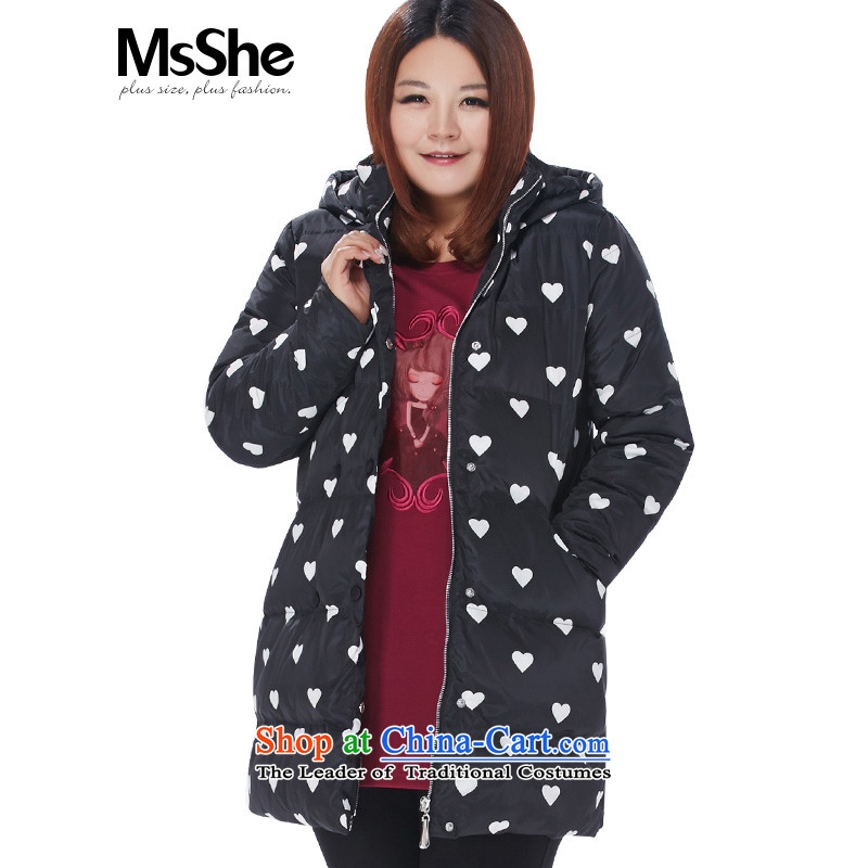 Large msshe women 2015 new winter clothing white duck down thick sister down in thick long 104752XL Black