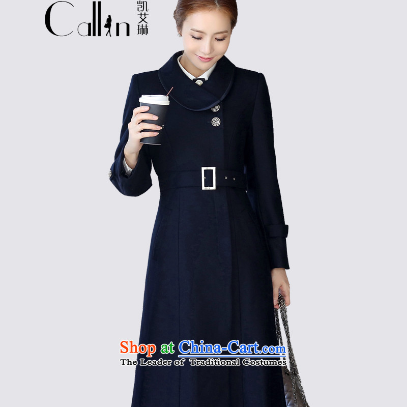 Gloria Irene 2015 winter clothing new high-end woolen coat female Korean Sau San thick a wool coat in the long hair attire? jackets uniforms 1201 dark blueXXL