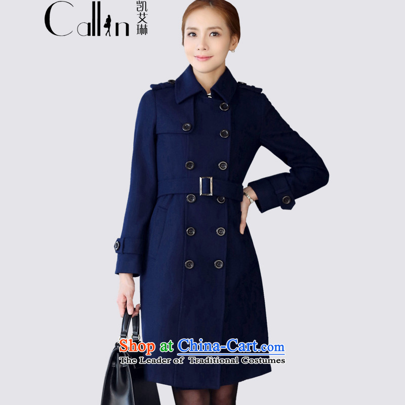 Gloria Irene in long double-Sau San video thin wool a wool coat 2015 autumn and winter coats female new professional attire is gross? COAT 1200 dark blue XXL