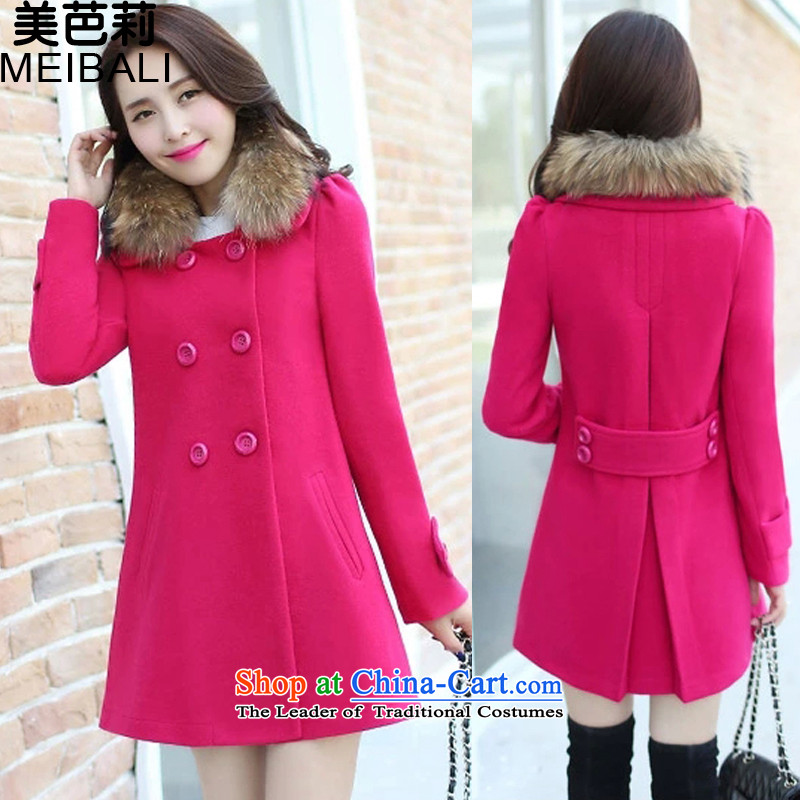 The United States and the new 2015 Li Women's gross jacket Korean big?   in the code for the gross coats long 1116 rose red?S