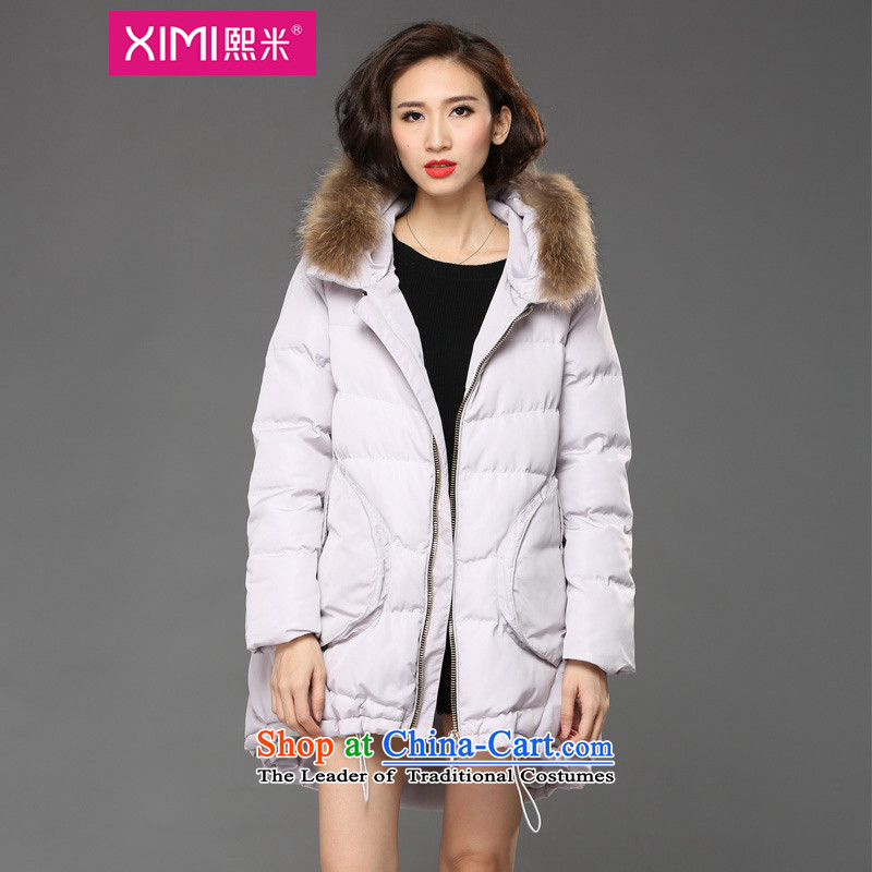 Hee-M 2015 to increase the number of women with new winter clothing thick girls' Graphics thin, really tie the cotton waffle gross cap 泾蜮 Light Gray�L