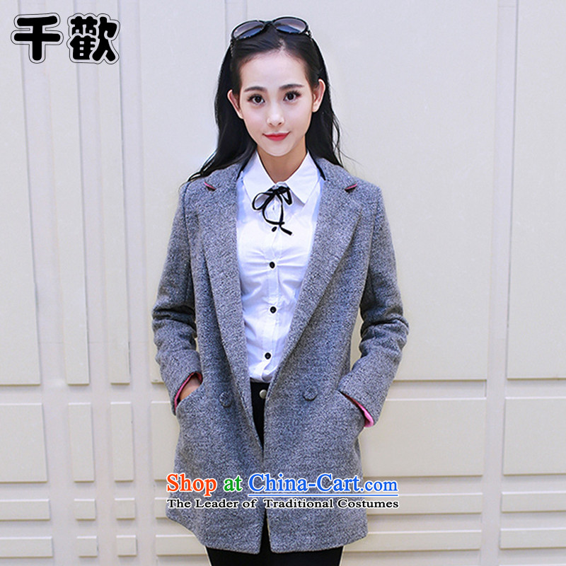 Thousands of 2015 Fall_Winter Collections with the new Korean girl in gross? coats of gross? a wool coat female jacket Gray燣