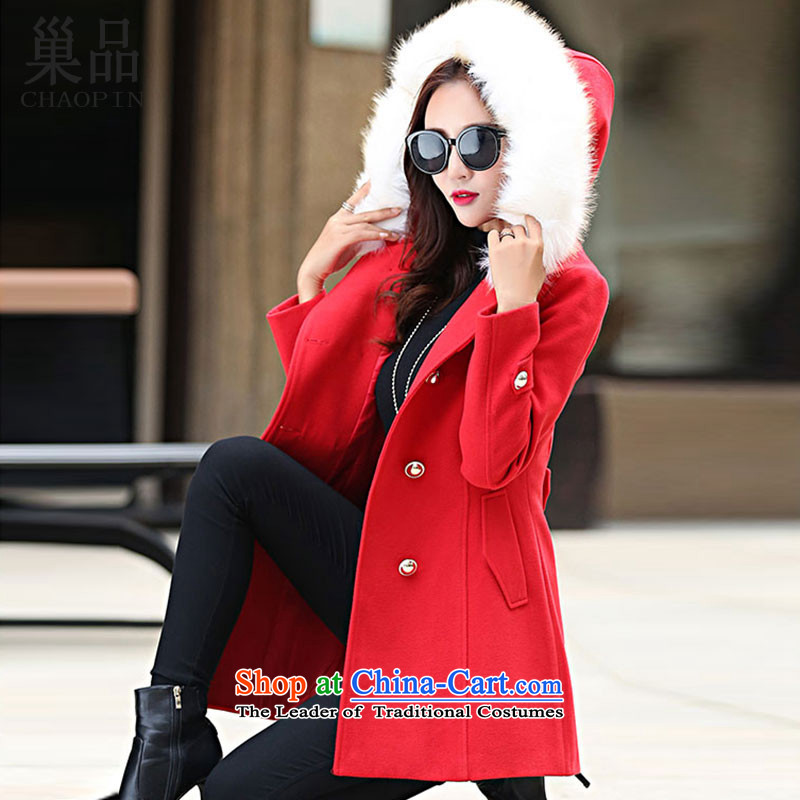 The nest products gross? Version Korean female coats of larger gross jacket female _equipped? removable gross_ Red燣