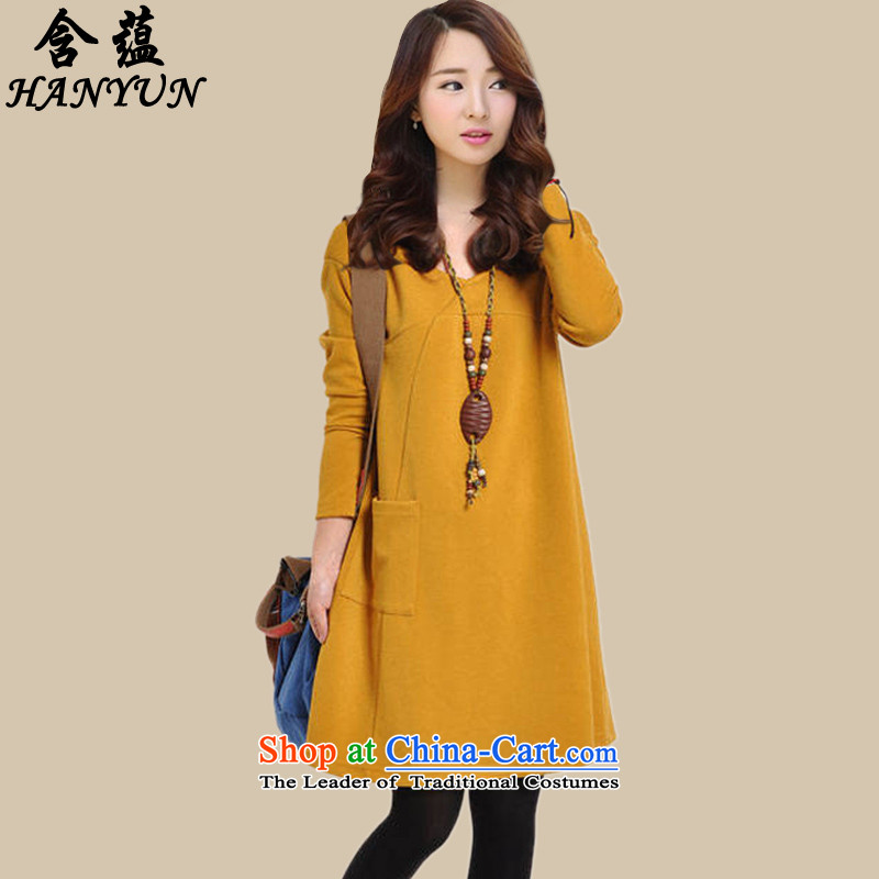 To 2015 autumn and winter with the new version on the new Korean female thick mm larger long-sleeved relaxd casual dress temperament video thin skirts yellow plus lint-free thick聽L