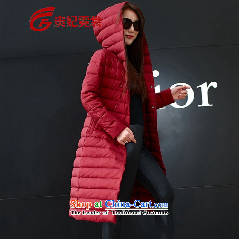 Tysan Korean Gwi-MM thick winter clothing new 200 catties extra female to xl graphics in thin long temperament thin and light down jacket red 6XL recommendations 190-210 catty