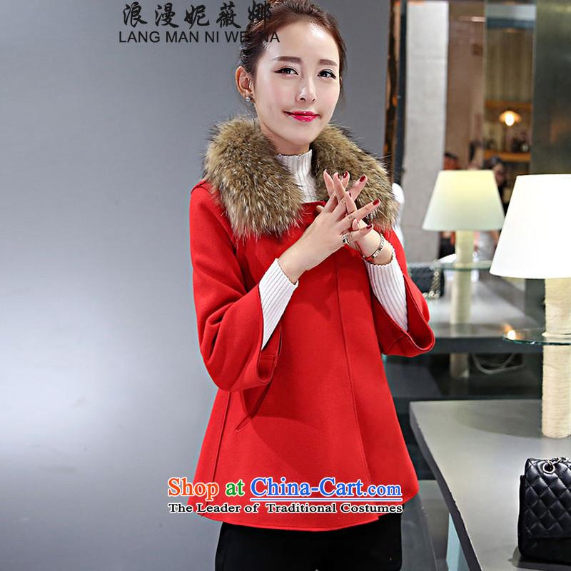 Ms Audrey EU's�15 romantic Connie Chau for women Korean jacket coat Gross Gross Sau San?? topper with large red collar Nagymaros燤