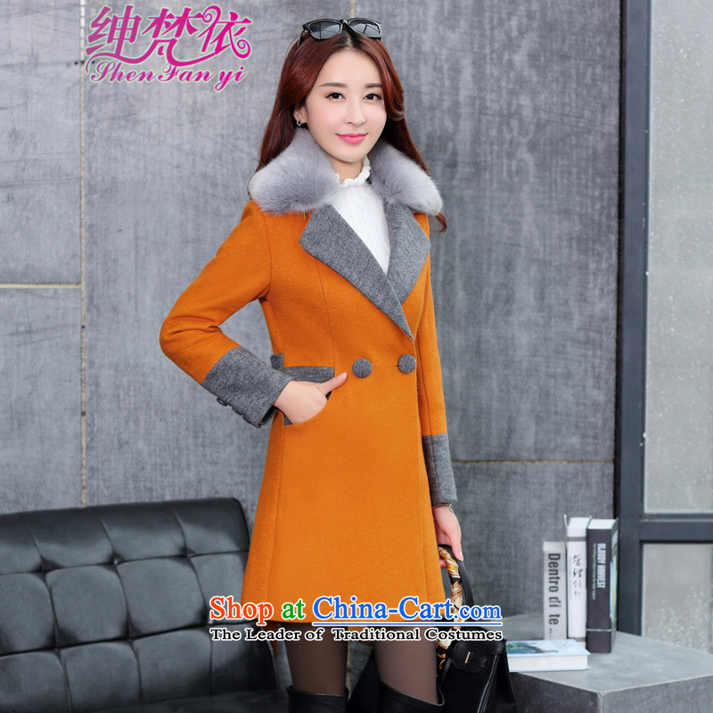 In accordance with the amount so Clifford Chance Van Gogh coats female Korean girl in gross? jacket long Sau San a wool coat gross for orange燤