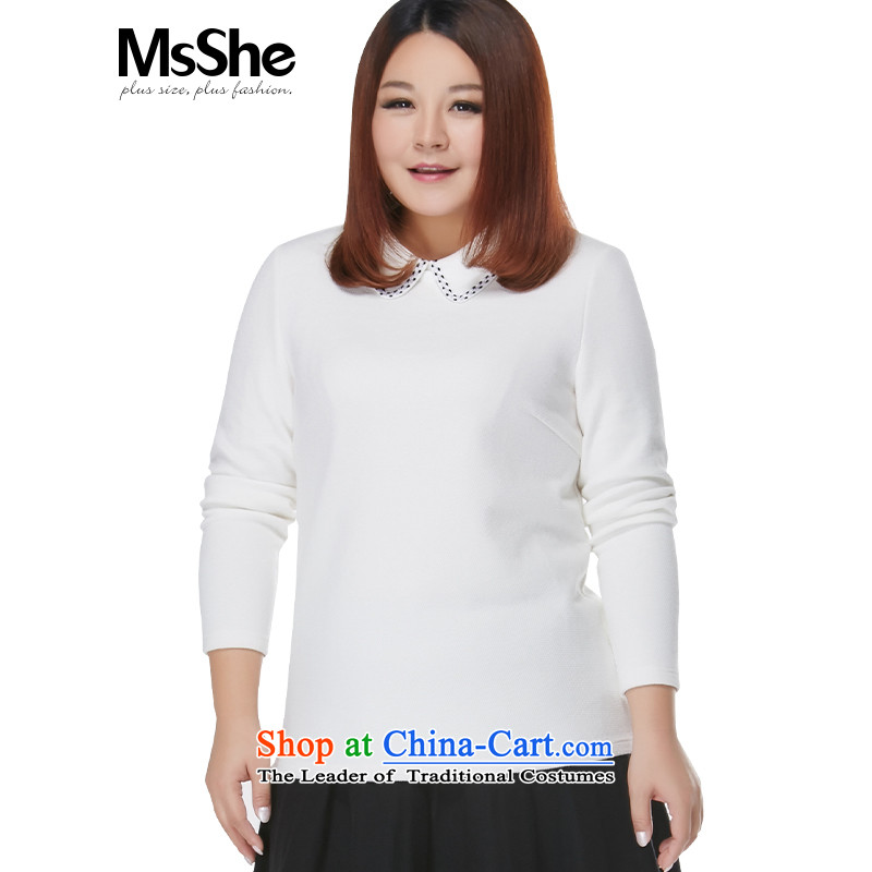 Msshe xl women 2015 new winter clothing thick MM elegant lace lapel knitting sweater 10999 forming the White燲L