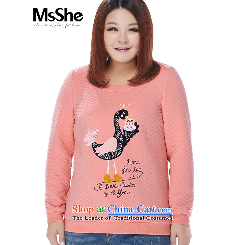 Msshe xl women 2015 new winter clothing space cotton round-neck collar cartoon embroidered thick MM thick 11098 sweater pink�L