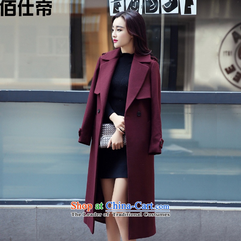 The Korean version of the 2015 autumn and winter coats gross New girl? long loose wine red燤