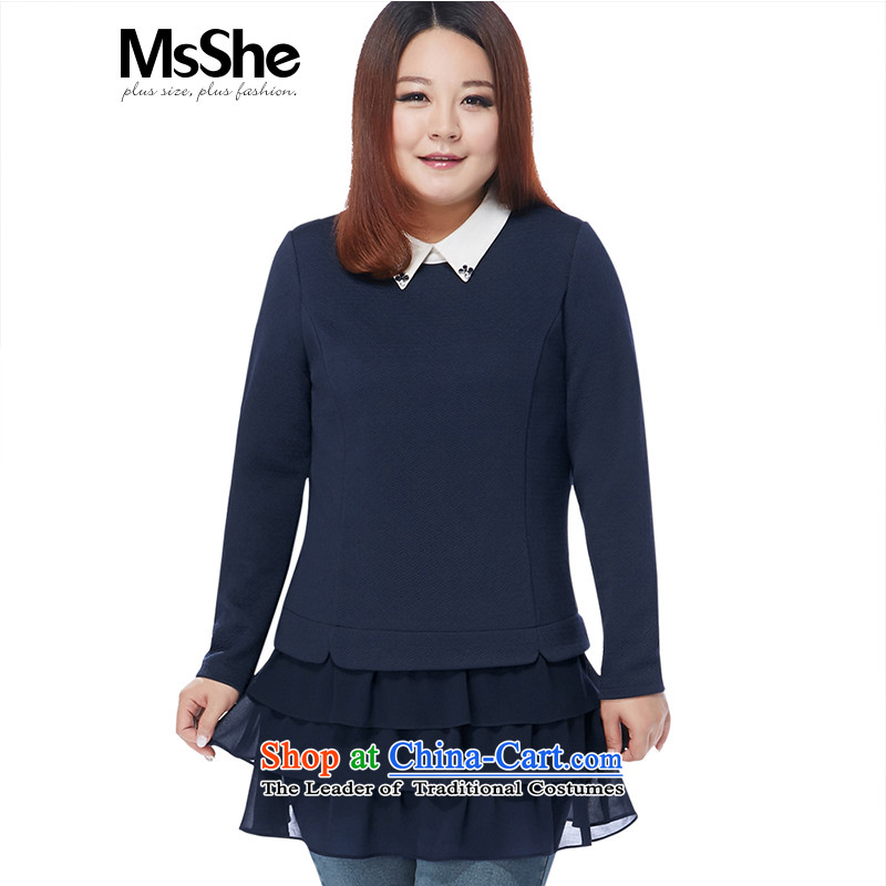 Msshe xl women 2015 new winter clothing thick MM long-sleeved shirt layer cake skirt 10873 pre-sale blue4XL- pre-sale to arrive at 12.10