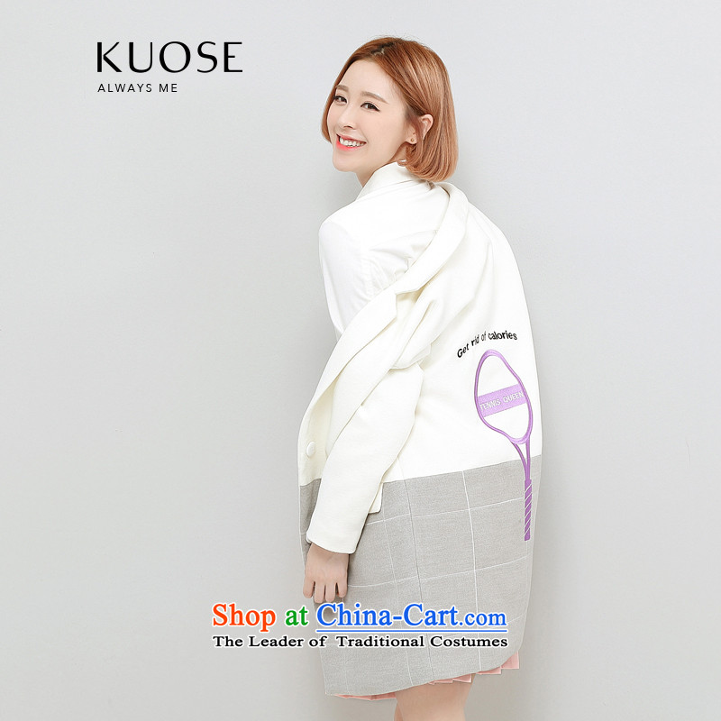 Wide Color Gamut 2015 autumn and winter new Korean Female straight for long-sleeved embroidery suits stitching?? white jacket coat gross spell gray cells燬