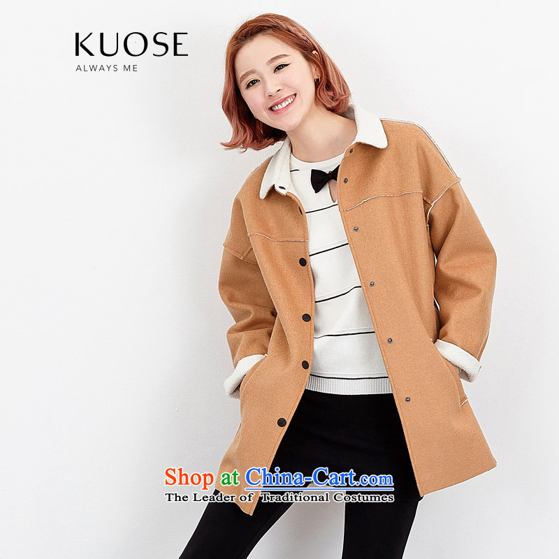 Wide Color Gamut 2015 autumn and winter new Korean female loose stitching Lamb Wool Velvet in long thick?? Jacket coat gross light brown聽M