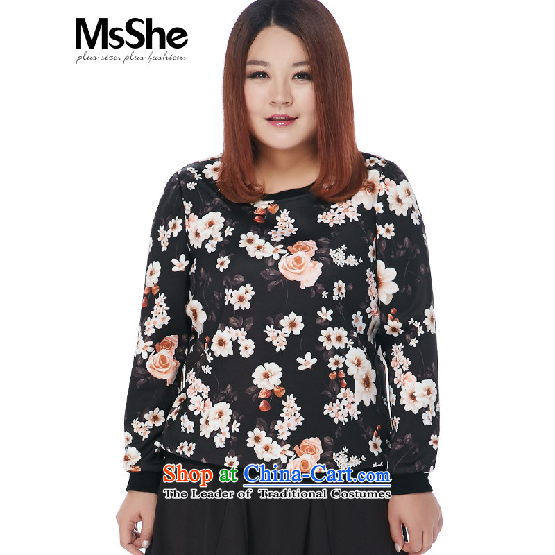 Msshe xl women 2015 new winter clothing thick MM Air layer fashion clothing was 11,079 black toner 6XL flower