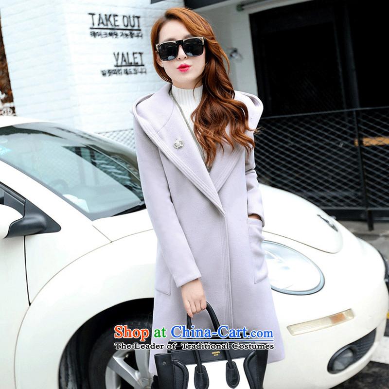 Pure color in long cap gross gray coat??M