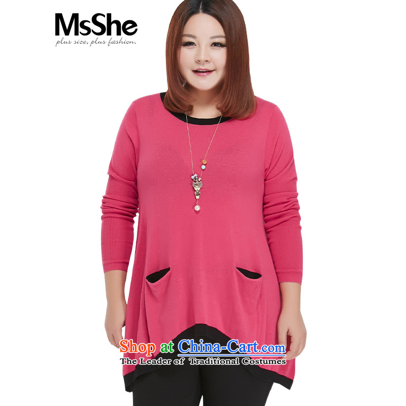 Msshe xl women 2015 new fall inside pocket stitching sweater pullovers 200 catties聽5XL 2599 Red