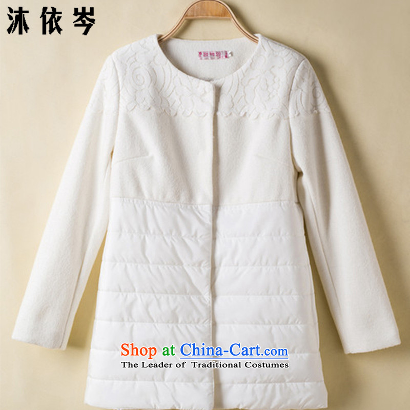 In accordance with the CEN 2015 bathing in the autumn and winter female lovers in Accra Tang-m with white flower stars lace. long spell of overcoats 581#? White XL
