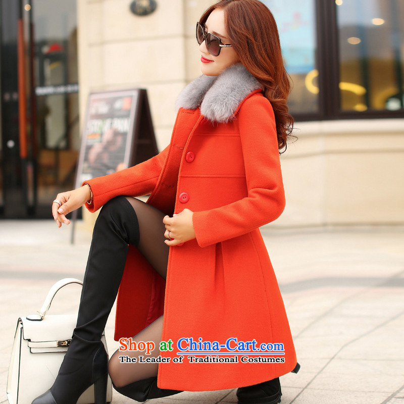 There can be爊ew autumn and winter 2015 gross jacket in long?_ gross a wool coat Korean Sau San han bum thin graphics female orange燲L