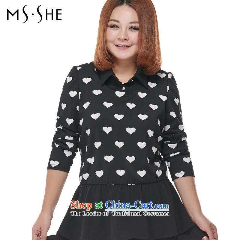Msshe xl women 2015 Autumn replacing the new fat mm stitching Half-Zip Shirt billowy flounces Sau San T-shirts 2,217�L black