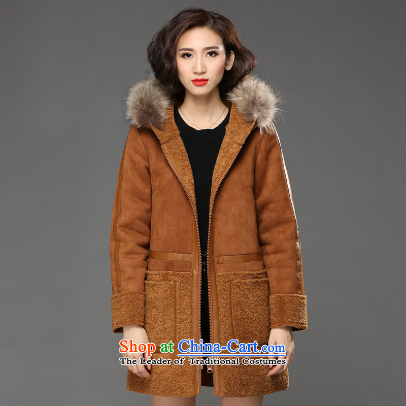 2015 Fall_Winter Collections Of new women's XL Korean Wind Jacket gross? female in long loose solid color leather garments series spell cap cashmere large a wool coat and color XXXXL recommendations 165-185 catty
