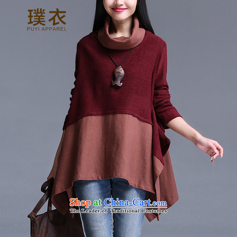 Equipment for autumn and winter clothing new stylish stitching sweater loose cotton linen, forming the high collar shirt female equilateral COAT 6102 wine red聽XL
