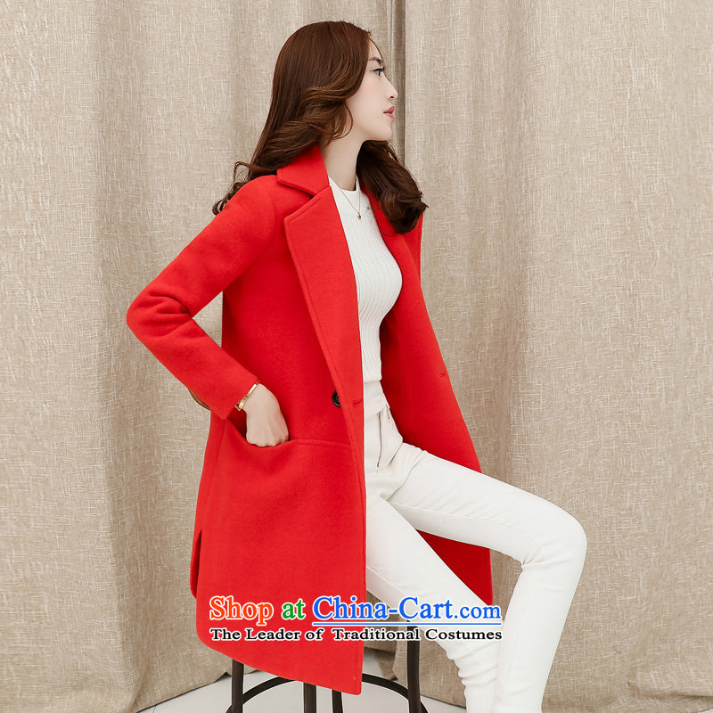 Sin has聽2015 autumn and winter new Korean girl in gross? jacket long thin thick wool Sau San video a wool coat RED聽M
