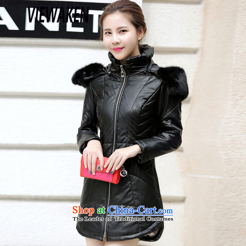 In 2015, Ms. viewaken New聽PU leather jacket fur coat black聽XXXL Downcoat